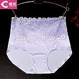 RRRRZ* sexy ropa interior de encaje alto de cintura cadera femenina su abdomen 3 esquinas de pantalones de algodón puro Código Civil , son el lila