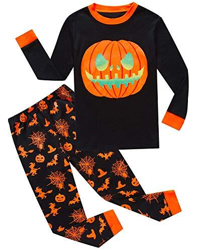 Garsumiss Jungen Schlafanzug Kinder Dinosaurier Pyjamas Sets Kleinkind Pjs Nachtwäsche 2-8 Jahre (104/3 Jahre, Schwarz/Kürbis)