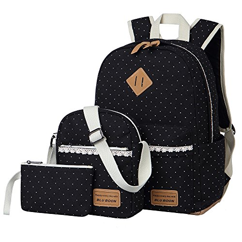 Schulrucksack Mädchen Canvas Rucksack Damen Schul Schulranzen/Schultasche 3 in 1 - 2