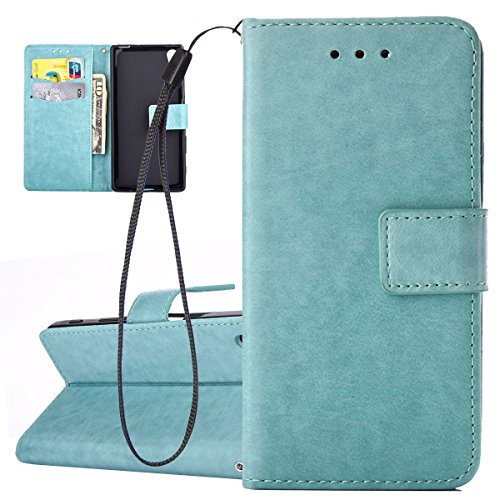 Hülle für Sony Xperia X, Tasche für Sony Xperia X, Case Cover für Sony Xperia X, ISAKEN Farbig Blank Muster Folio PU Leder Flip Cover Brieftasche Geldbörse Wallet Case Ledertasche Handyhülle Tasche Ca Blank Einfarbig Grün