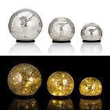 Online-Fuchs 3er SET Glaskugeln mit LED Lichterkette inkl. Timer - In und Outdoor geeignet - Deko Kugeln in Bruchglasoptik - LED Beleuchtung (Silber)
