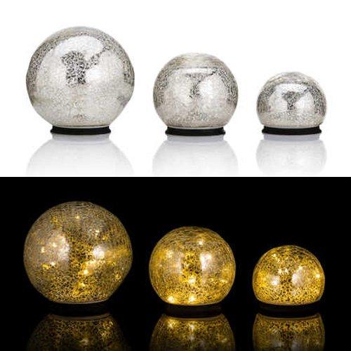 3er SET Glaskugeln mit LED Lichterkette inkl. Timer - In und Outdoor geeignet - Deko Kugeln in Bruchglasoptik - LED Beleuchtung (Silber)