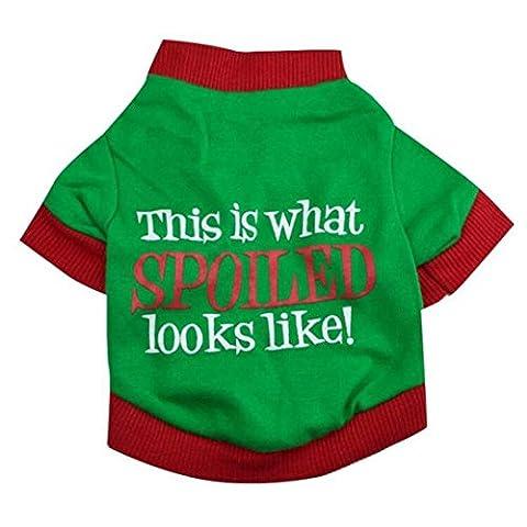 Haustier-Kleidung von Transer®, Weihnachtsoberteil, für Hunde, Baumwolle, zweifarbig, bedruckte Kleidung für