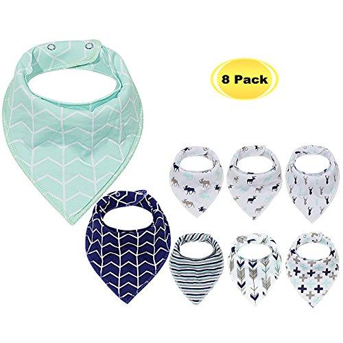 PPOGOO 8er Baby Dreieckstuch Lätzchen Spucktuch Halstücher 100% Baumwolle