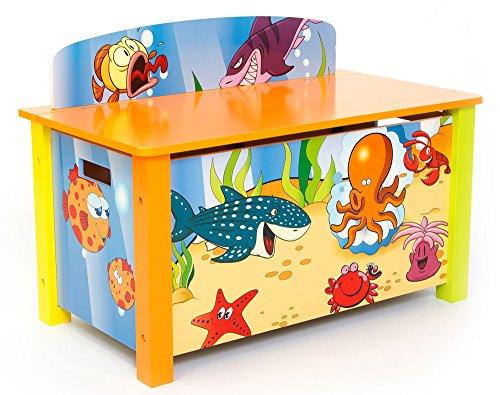 Coffre à jouer pour enfant motif poissons -PEGANE-