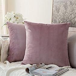 Pack de 2, Terciopelo Suave Cuadrado Fundas de Almohada Funda de cojín para sofá Dormitorio Coche 18 * 18 Pulgada 45 * 45 cm Rosado Morado