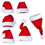 SHZONS suave terciopelo Santa Claus gorro disfraz para adultos fiesta de Navidad de grosor sombreros de Navidad con gorro rojo y blanco