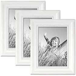 Juego de 3 marcos 13x18 cm viejo-blancos, estilo casa rural, madera maciza con cristal y accesorios / marco de fotos