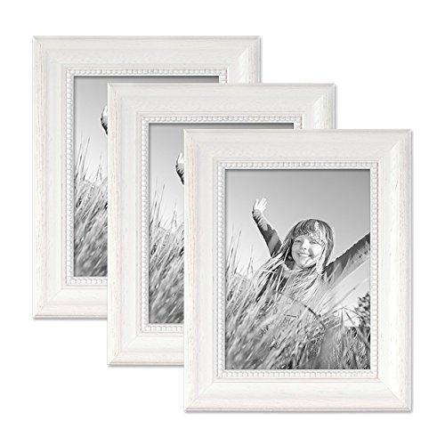 Preisvergleich Produktbild PHOTOLINI 3er Set Bilderrahmen Landhaus-Stil Weiss 13x18 cm Massivholz mit Glasscheibe und Zubehör / Fotorahmen
