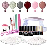 Maphie UV Nagellack Starter Set Kit Mit UV/LED lichthärtungsgerät Mini Nageltrockner Top Coat Base Coat und 6 Gellacke