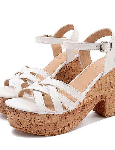 UWSZZ Die Sandalen elegante Comfort schuhe Donna-Sandali - Formale-Tacchi/Plateau/Aperta-Quadrato - Kunstleder - Lila/Weiß Purple