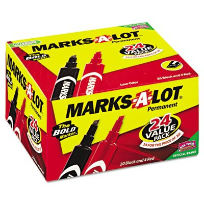 marks-a-lot Permanent Marker, Regular Keilspitze, rot, schwarz, 24/Pack