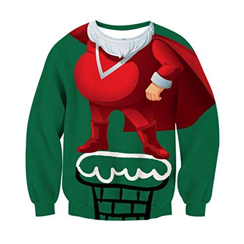 ChicolifeUnisex Weihnachten Weihnachtsmann Superman Held Print Blickfang Xmas Pullover Pullover Sweatshirt für männlich (Superhelden Weibliche Heiße)