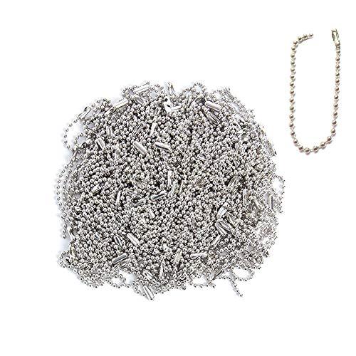 300 stücke 100mm lange perle reißverschluss verlängerungsriemen stecker schnalle versilbert kabelkette 2,4mm durchmesser einstellbar retro metall perle stahlkette kugelkette schlüsselbund label perlen (Nagelfeilen Bulk)