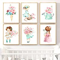 Swallow Baby Girl Rose Flower Umbrella Nordic Posters And Prints Wall Art Canvas Painting Nursery Wall Picture For Kids Room Decor-21x30cmx6 pcs no frame