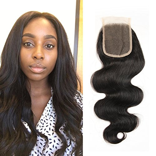 PURUN Closure Bresilienne Cheveux Humain Closure Lace Frontale 4x4 Top Lace avec Baby Hair Free Part Brazilian Hair Frontale Lace 18 pouces