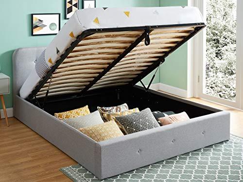 HOMIFAB Lit Coffre 160x200 cm Gris Clair avec tête de lit + sommier à Lattes - Collection Kate
