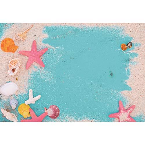 Rustikale Sand (Cassisy 3x2m Vinyl Meer Fotohintergrund Rustikal Blaue hölzerne Planken Sand Starfish Conch Shell Fotoleinwand Hintergrund für Fotoshooting Fotostudio Requisiten Party Photo Booth)