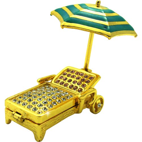 Objet d' Art Release # 404 Golden chaise Beach Chair & Umbrella Handmade Jeweled metal & Enamel Trinket box