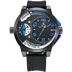 Alienwork DualTime Quartz Watch Multi Time Zones Wristwatch XXL Oversized Polyurethane black black OS.UV1501-3