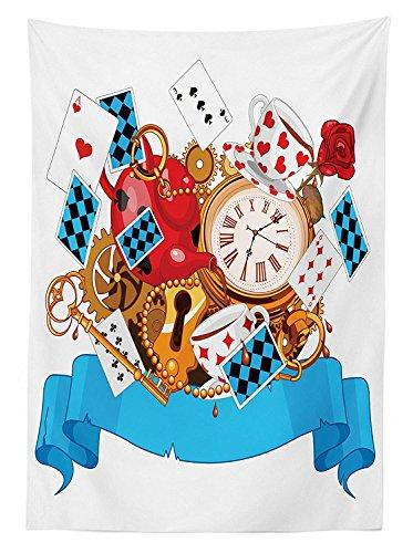 rland Tischdecke Outdoor, Mad Design der Karten Uhren Tee T?pfe SCHL¨¹ssel Blumen Fantasy World Artwork, Deko Waschbar Picnic Tischdecke, Multicolor 52