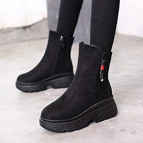 HSXZ Scarpe donna Cashmere inverno combattere Stivali Stivali Chunky tallone punta tonda Mid-Calf scarponi per Nero Casual Black