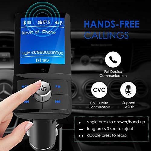 Kampre Bluetooth FM Transmitter für Kfz-Funkadapter, Freisprecheinrichtung mit USB-Autoladegerät, Unterstützt AUX-Anschluss/Micro-SD-Karte/U-Disk-MP3-Player Home-fm-transmitter
