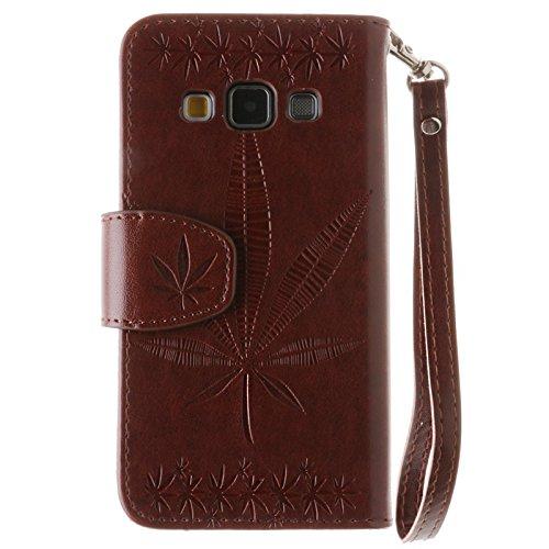YHUISEN Geprägte Maple Leaf Design PU-Leder Flip Wallet Stand Case mit Kartensteckplatz für Samsung Galaxy A3 (2015) ( Color : White ) Brown
