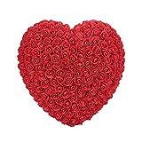 Rosepoem Fleurs artificielles en Forme de Coeur de Rose, Fausses Fleurs Cadeau de Valentines d'anniversaire de Fleur Immortelle simulative de Rose - Rouge