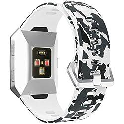 fitbit ionic correas accesorios reemplazo fitbit ionic reloj funda protector correas de repuesto silicona ligera banda para Fitbit Ionic pulsera Smartwatch Sannysis Ancho de banda 20 mm (Camuflaje 01)