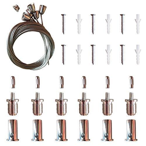 AAPLUS- 6X Seilaufhängung Einbauset/Einbaukit Befestigungsmaterial Montagematerial Abhängeset Zubehör für LED Panel Deckenleuchte 30x30/ 30x60/ 60x60/ 62x62/ 120x30cm(Acciaio inox + Kupfer+ ABS)