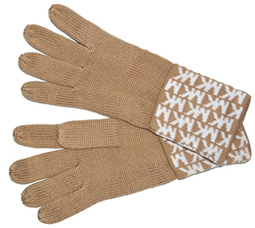 Michael Kors Womens Gloves MK Logo Knit Cuffed Gloves Light Camel - Michael Michael Kors Camel