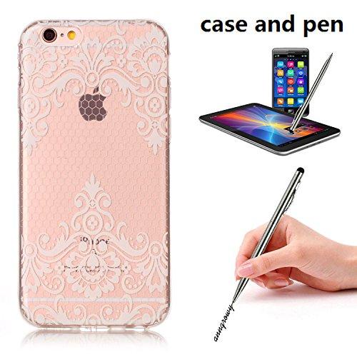 HLZDH Transparente Case pour iPhone 6 Plus TPU Silicone Transparente Ultra Mince Ultra Lége [Anti Scratch][Anti dérapante][AntiChoc] Gel transparent Housse Pare-chocs +Touchez le stylo image-5