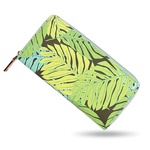 bluzelle Geldbeutel Geldbörse Portemonnaie aus Kunst-Leder mit Handyfach, Lange Premium Design Brieftasche, Umlaufender Reißverschluss Münzfach Kartenfächer Geldtasche, Designs:Tropical Leaves