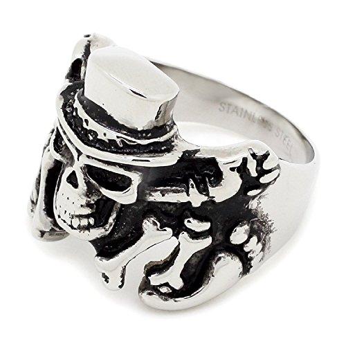 Skull Bones & elegante in un cappello Design-Anello in acciaio INOX, dimensioni: 11 (garanzia, Misura: 11