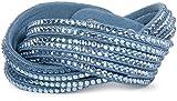 styleBREAKER weiches Strass Armband, eleganter Armschmuck mit Strassteinen, Wickelarmband, 6x1-Reihig, Damen 05040005, Farbe:Hellblau-Blau/Hellblau