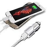I-Sonite (Silber Auto-Ladegerät und 2X 1M Micro-USB-Kabel für HTC One A9