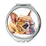Yanteng Spiegel, Reise-Spiegel, Hund Netter Haustier-Spaß Kleine französische Bulldogge-Farbe, Taschen-Spiegel, beweglicher Spiegel