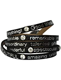 Good Works Bracelet en cuir Noir avec strass/inscriptions argentées