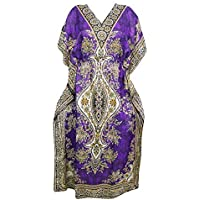 Mogul Interior Womens Maxi Kaftan Dress Purple Dashiki Print Viscose Kimono Caftan One Size