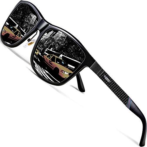 ATTCL Herren Polarisierte Fahren Sonnenbrille Al-Mg Metall Rahme Ultra Leicht 858-8 Black