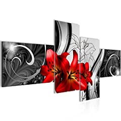 Idea Regalo - Quadro Fiori gigli Decorazione Murale 200 x 100 cm vello - Decorazione da Parete Misura XXL Salotto Appartamento Decorazione Stampe Artistiche Rosso A 4 pezzi - 100% MADE IN GERMANY - Pronte per l'applicazione 208441c