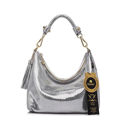 Realer Borse donne borsa piccola pelletteria Hobos messaggero con nappe Argento