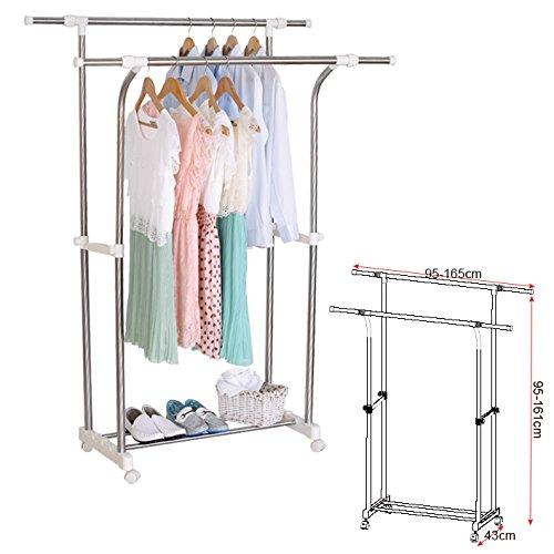 Kleiderständer Garderobenständer auf Rollen , Teleskop Wäscheständer mit 2 Kleiderstange , ausziehbar stabil verchromt SR0001