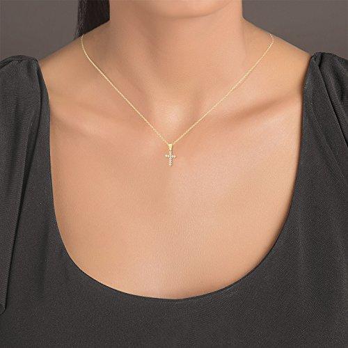 Damen Halskette 14 Karat/585 Gelbgold Kreuz mit Steinen als Anhänger | 14k Gold Cross Necklace