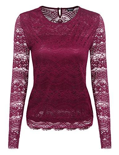 Zeagoo Damen Sommer Spitzenshirt Lace Top Business Langarmshirt Elegant Rundhals Oberteile, Weinrot, EU 40/ L