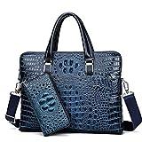 Echtes Leder Männer Briefgeschäft Business Handtaschen Echtleder Alligator Muster Männer Laptoptasche Mit Brieftasche Blue with Wallet
