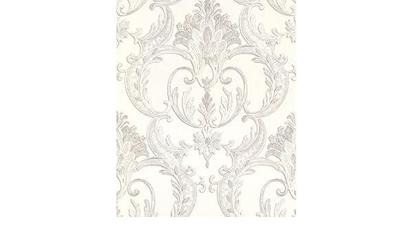 Textured Italian Vinyl Glitter Debona Perla Damask Silver Wallpaper 9092