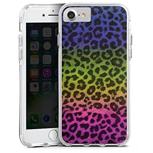 Apple iPhone 7 Plus Bumper Hülle Bumper Case Glitzer Hülle Leopard Fell Colourful Bumper Case transparent