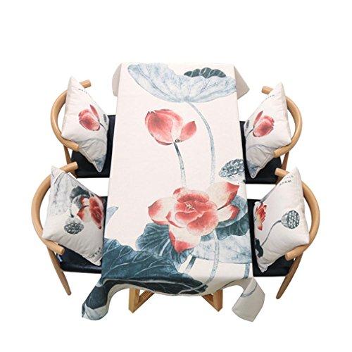 P&P Leinen Retro Chinesischer Stil Tinte Lotus Esstisch Kaffetisch Tischdecke Seitenschrank Handtuch Abdecken Beige , 140*180cm , beige (Chinesischen Runden Esstisch)